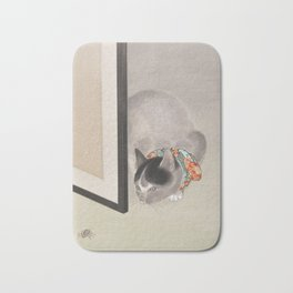 Cat Watching a Spider Japanese Painting Bath Mat