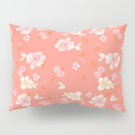 Peaches and Cream Floral Pattern Pillow Sham