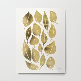 Cascading Leaves – Gold Palette Metal Print