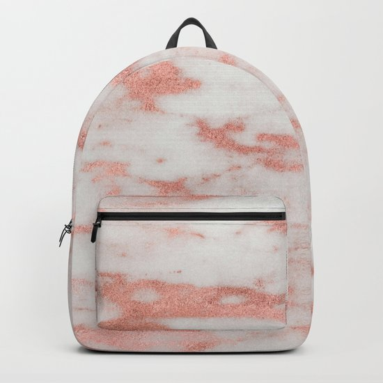 White Marble with Rose Gold Foil Backpack