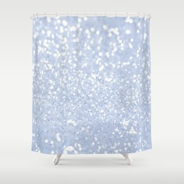Baby blue white elegant faux glitter pattern Shower Curtain
