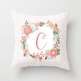 Monogram C - cute girls coral florals flower wreath, coral florals, baby girl, baby blanket Throw Pillow