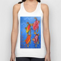 swimming Tank Tops featuring Swimming by Montes Arte Mexicano