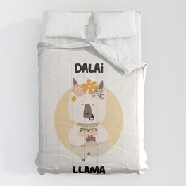 cute llama in a yoga pose Comforters