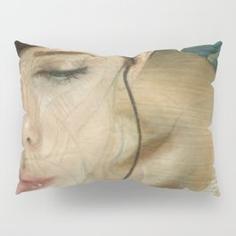 Woman Portrait Listening with Earphones Female Figurative Painting Pillow Sham