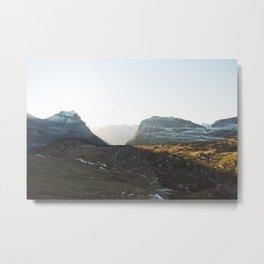 Light Cutting Through the Mountains Metal Print