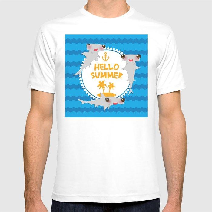 f407143dd Hello Summer. Kawaii hammerhead shark T-shirt by ekaterinap   Society6