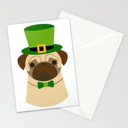 Kiss Me I'm Irish Saint Patrick's Day Pug Coffee Mug Stationery Cards