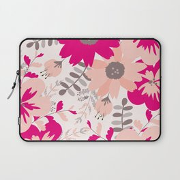 Big Flowers in Hot Pink and Accent Gray Laptop Sleeve