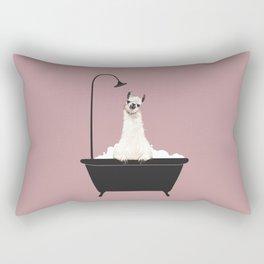 Llama in Bathtub Rectangular Pillow
