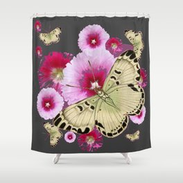 BUTTERFLIES PINK HOLLYHOCKS   CHARCOAL GREY COLOR  FLORAL Shower Curtain