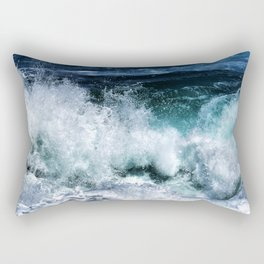 Dark Blue Waves Rectangular Pillow