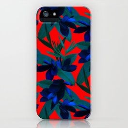 Mixed Paradise Tropicals in Indigo/Red iPhone Case
