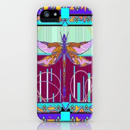 Western Dragonfly Purple-Turquoise Art abstract iPhone Case