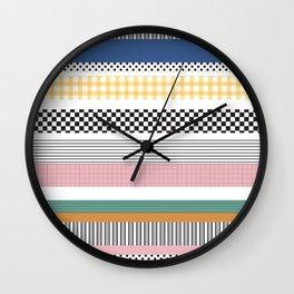 Mixed Pattern Stripe Print Color Blocking Wall Clock