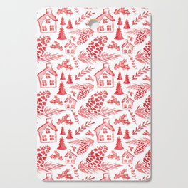 Watercolor Pinecones + Cottages Cutting Board