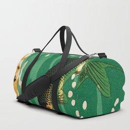 Vintage Japanese Woodblock Print Asian Art Koi Pond Fish Turquoise Green Water Cherry Blossom Duffle Bag