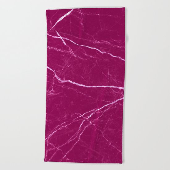 Magenta marble abstract texture pattern Beach Towel