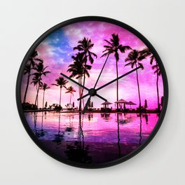 Neon Sunset Wall Clock