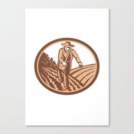 Organic Farmer Sowing Seed Woodcut Retro Canvas Print