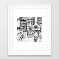 baking Framed Art Prints featuring Baking Cats by Ulrika Kestere