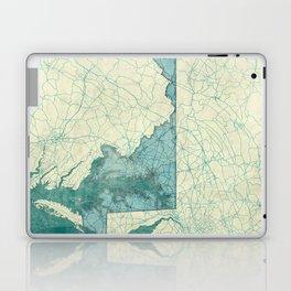 Maryland State Map Blue Vintage Laptop & iPad Skin