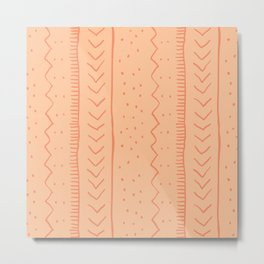 Moroccan Stripe in Orange Metal Print