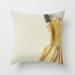 Doll Closet Series - Mustard Stripe Dress Throw Pillow