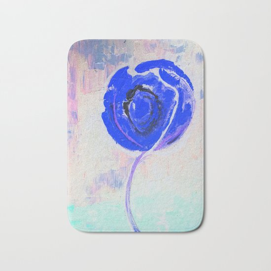 Snow Honey Silver Ice Blue Rose Bath Mat