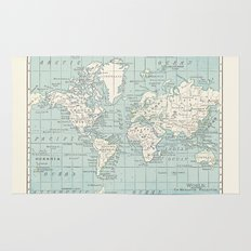 World Map in Blue and Cream Rug