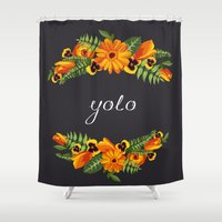 yolo Shower Curtains featuring Yolo by eARTh