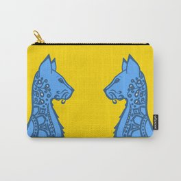 Blue and Yellow Cat Carry-All Pouch