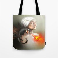 mother of dragons Tote Bags featuring mother of dragons  by KazuneKoi