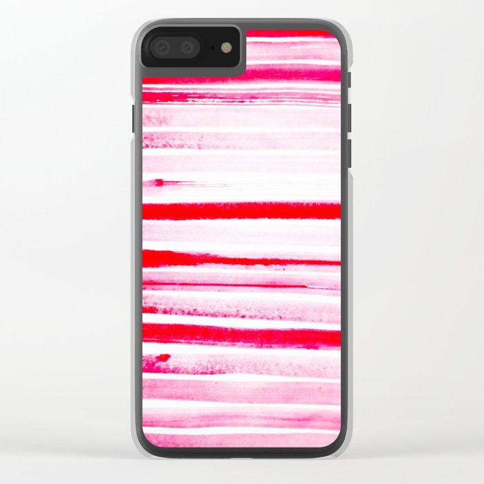 Christmas Candy Cane Red Stripe Clear iPhone Case