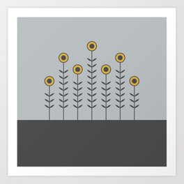Spring Shoots (Charcoal Black, Dove Grey, Spicy Mustard) Art Print