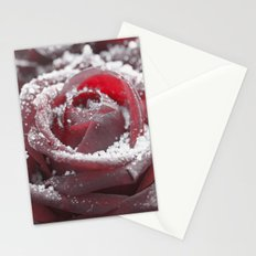 Frozen rose- with hoarfrost covered rose Stationery Cards