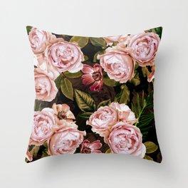 Vintage & Shabby Chic - Antique Sepia Midnight Roses Botanical Garden  Throw Pillow