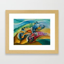 Italian Grand Prix Motorcycle Racing in the Alps color landscape painting by Ugo Giannattasio Framed Art Print
