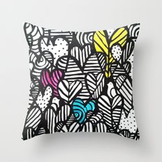 Graffiti Hearts Throw Pillow