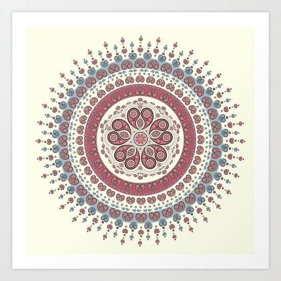 Mandala Paisley - Love (ivory) Art Print