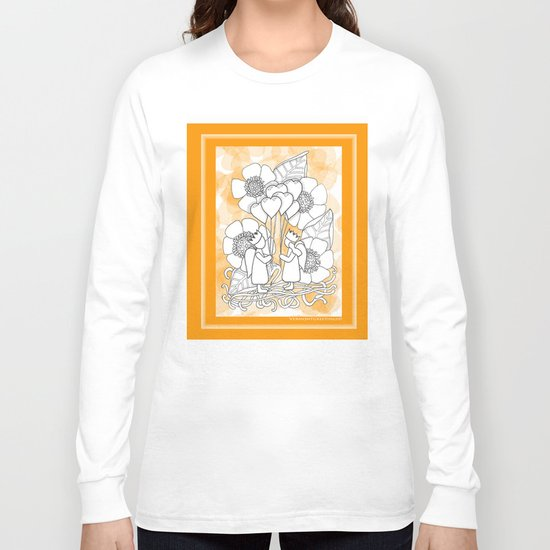 Kids with Hearts of Gold A Zentangle Illustration for Children Long Sleeve T-shirt
