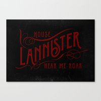 lannister Canvas Prints featuring House Lannister Typography by P3RF3KT