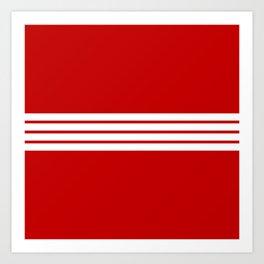 4 White Stripes on Red Art Print