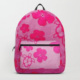Pink Hibiscus And Honu Turtles Backpack