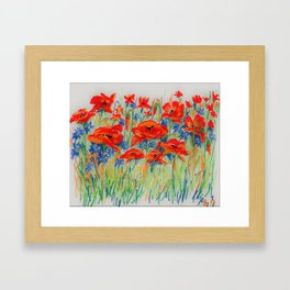 poppies and corn-flowers Framed Art Print