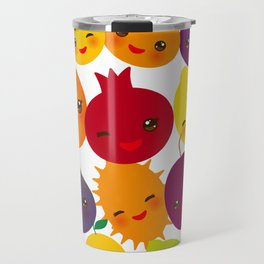 kawaii fruit Pear Mangosteen tangerine pineapple papaya persimmon pomegranate lime Travel Mug