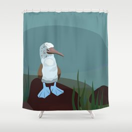 Blue-footed Booby in the wild. Shower Curtain