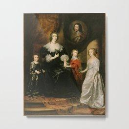 Anthony van Dyck - Portrait of the widow of the Duke of Buckingham Duke and her children Metal Print