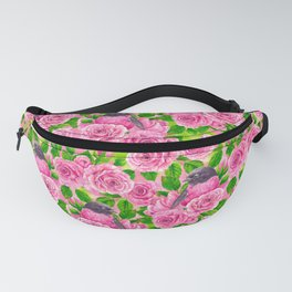 Pink Robin and roses Fanny Pack
