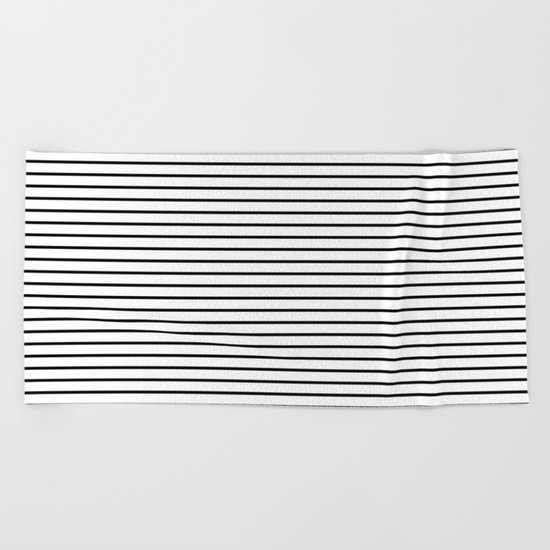 Horizontal Lines (Black/White) Beach Towel